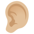 Ear: Medium-Light Skin Tone on EmojiOne 4.5
