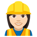Woman Construction Worker: Light Skin Tone on JoyPixels 4.5