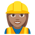 Woman Construction Worker: Medium Skin Tone on JoyPixels 4.5