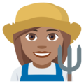 Woman Farmer: Medium Skin Tone on JoyPixels 4.5