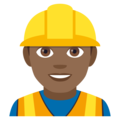 Man Construction Worker: Medium-Dark Skin Tone on JoyPixels 4.5