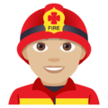 Man Firefighter: Medium-Light Skin Tone on JoyPixels 4.5