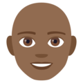 Man: Medium-Dark Skin Tone, Bald on JoyPixels 4.5