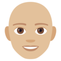 Man: Medium-Light Skin Tone, Bald on JoyPixels 4.5