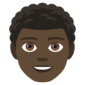 Man: Dark Skin Tone, Curly Hair on JoyPixels 4.5