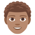 Man: Medium Skin Tone, Curly Hair on JoyPixels 4.5