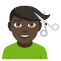 Man Getting Haircut: Dark Skin Tone on EmojiOne 4.5