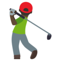 Man Golfing: Dark Skin Tone on JoyPixels 4.5
