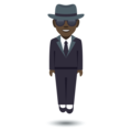 Man in Suit Levitating: Dark Skin Tone on JoyPixels 4.5