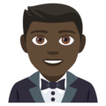 Man in Tuxedo: Dark Skin Tone on JoyPixels 4.5