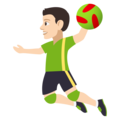 Man Playing Handball: Light Skin Tone on JoyPixels 4.5