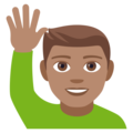 Man Raising Hand: Medium Skin Tone on EmojiOne 4.5