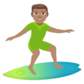 Man Surfing: Medium Skin Tone on JoyPixels 4.5