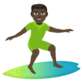 Man Surfing: Dark Skin Tone on EmojiOne 4.5
