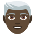 Man: Dark Skin Tone, White Hair on JoyPixels 4.5