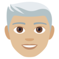 Man: Medium-Light Skin Tone, White Hair on JoyPixels 4.5