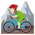 Person Mountain Biking: Light Skin Tone on EmojiOne 4.5