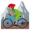 Person Mountain Biking: Medium Skin Tone on JoyPixels 4.5