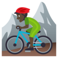 Person Mountain Biking: Dark Skin Tone on JoyPixels 4.5