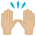 Raising Hands: Medium-Light Skin Tone on EmojiOne 4.5