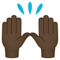 Raising Hands: Dark Skin Tone on JoyPixels 4.5