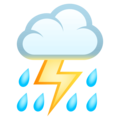 Cloud With Lightning and Rain on EmojiOne 4.5