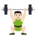 Person Lifting Weights: Light Skin Tone on JoyPixels 4.5