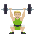 Person Lifting Weights: Medium-Light Skin Tone on JoyPixels 4.5