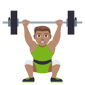 Person Lifting Weights: Medium Skin Tone on JoyPixels 4.5