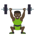 Person Lifting Weights: Dark Skin Tone on JoyPixels 4.5