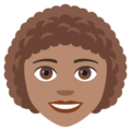 Woman: Medium Skin Tone, Curly Hair on JoyPixels 4.5