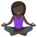 Woman in Lotus Position: Dark Skin Tone on EmojiOne 4.5