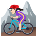 Woman Mountain Biking: Light Skin Tone on EmojiOne 4.5