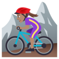Woman Mountain Biking: Medium Skin Tone on JoyPixels 4.5