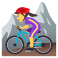 Woman Mountain Biking on JoyPixels 4.5