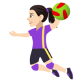 Woman Playing Handball: Light Skin Tone on EmojiOne 4.5