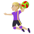 Woman Playing Handball: Medium-Light Skin Tone on JoyPixels 4.5