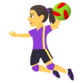 Woman Playing Handball on JoyPixels 4.5