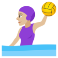 Woman Playing Water Polo: Medium-Light Skin Tone on JoyPixels 4.5