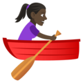 Woman Rowing Boat: Dark Skin Tone on JoyPixels 4.5