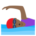 Woman Swimming: Medium-Dark Skin Tone on JoyPixels 4.5
