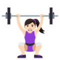 Woman Lifting Weights: Light Skin Tone on EmojiOne 4.5