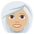 Woman: Medium-Light Skin Tone, White Hair on JoyPixels 4.5