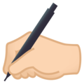 Writing Hand: Light Skin Tone on EmojiOne 4.5