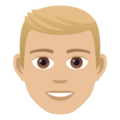 Man: Medium-Light Skin Tone, Blond Hair on JoyPixels 5.0