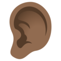 Ear: Medium-Dark Skin Tone on JoyPixels 5.0
