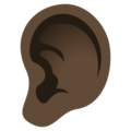 Ear: Dark Skin Tone on JoyPixels 5.0