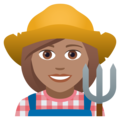 Woman Farmer: Medium Skin Tone on JoyPixels 5.0