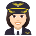 Woman Pilot: Light Skin Tone on JoyPixels 5.0