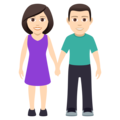 Woman and Man Holding Hands: Light Skin Tone on JoyPixels 5.0